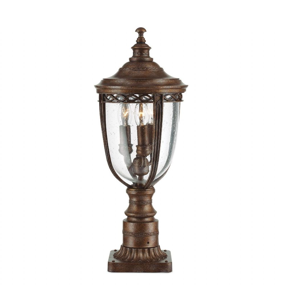 Feiss English Bridle Medium Pedestal Lantern Light Black: English Bridle Medium Outdoor Pedestal In A Bronze Finish